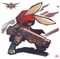 rabbit with a shotgun by SentientLine
