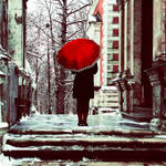 Girl with red umbrella.