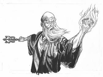 Dragon Fist Flame Fist Ink Drawing
