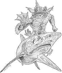 Original pencil drawing for sale: Crystal Shark