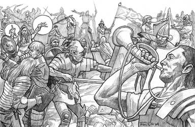 Pencil drawing for sale: battle with orc army