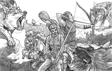 Adventuring Party vs Dire Wolves