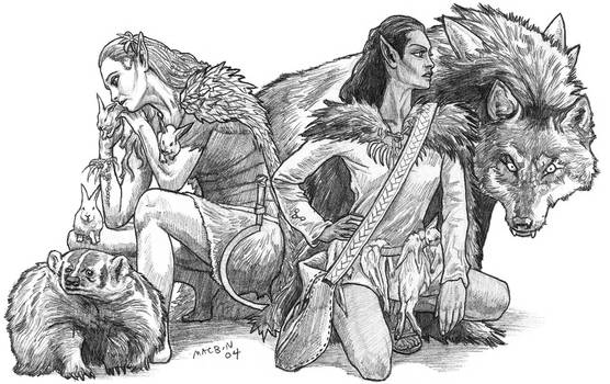 Pencil drawing for sale: Elf Druids with Animals