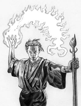 Drow Fire Mage pencil drawing on paper - available