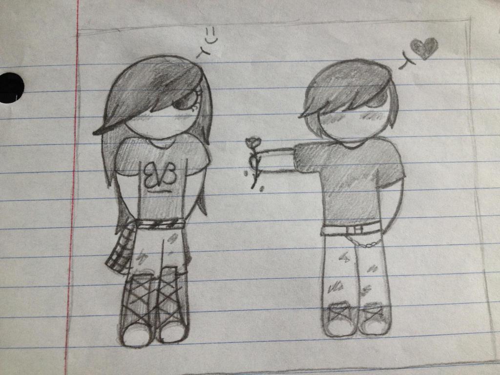 Cute couple sketch by emdotfoxy