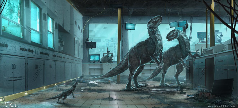 dinosaurs_in_a_lab_by_heliacwolf-da1vi2h