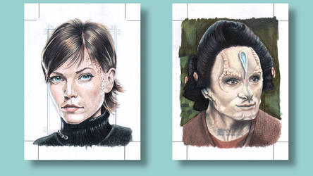 Ezri Dax Star Trek Deep Space Nine Sketch cards by ArtistikAssistance