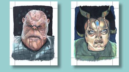 Morn Gilora Star Trek Deep Space Nine Sketch cards by ArtistikAssistance