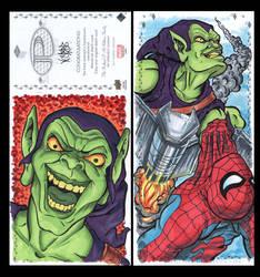 GreenGoblin Marvel Upper Deck three panel sketch c by ArtistikAssistance
