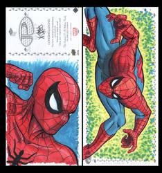 Spiderman Marvel Upper Deck three panel sketch car