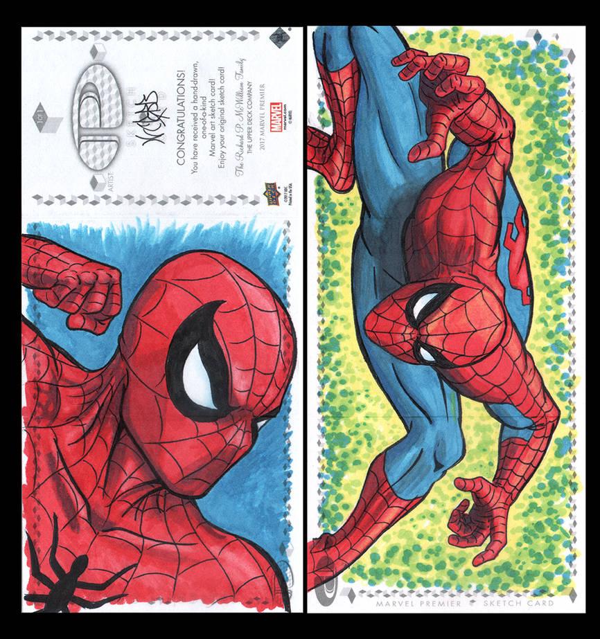 Spiderman Marvel Upper Deck three panel sketch car by ArtistikAssistance