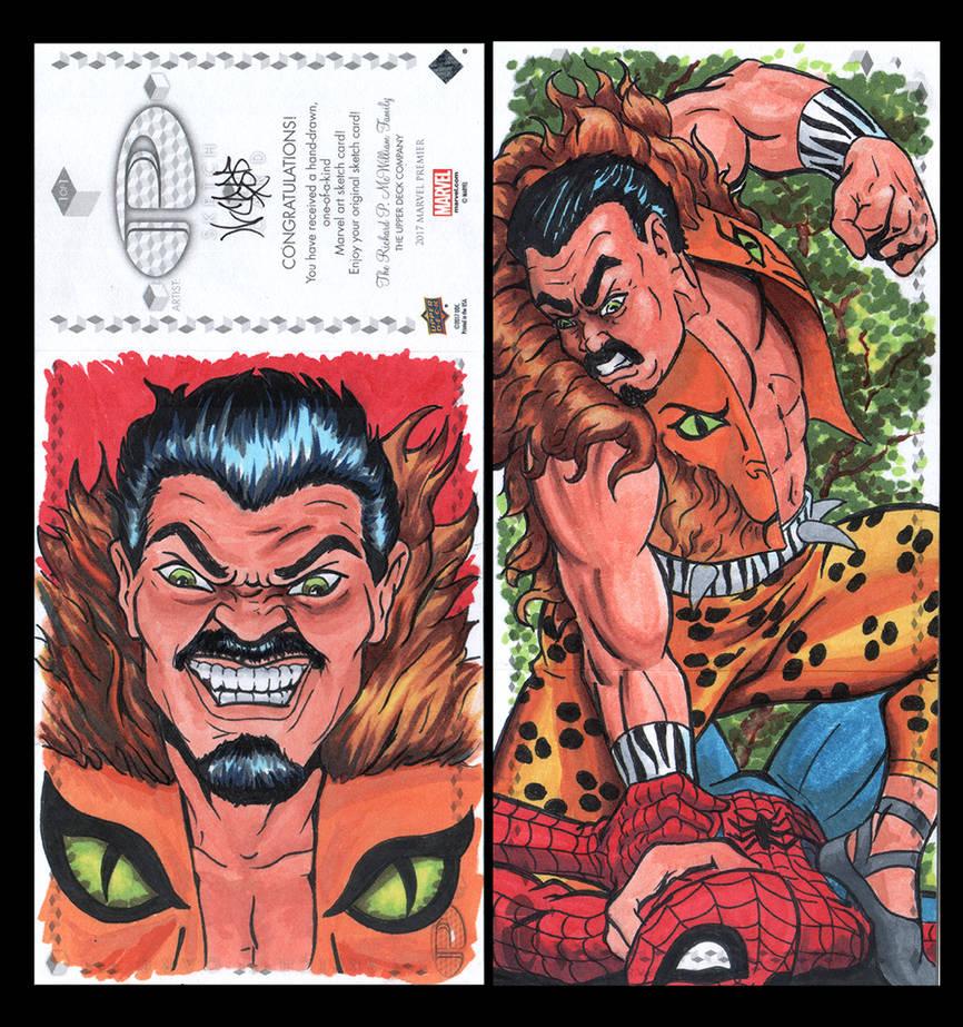 Kraven Marvel Upper Deck three panel sketch card by ArtistikAssistance