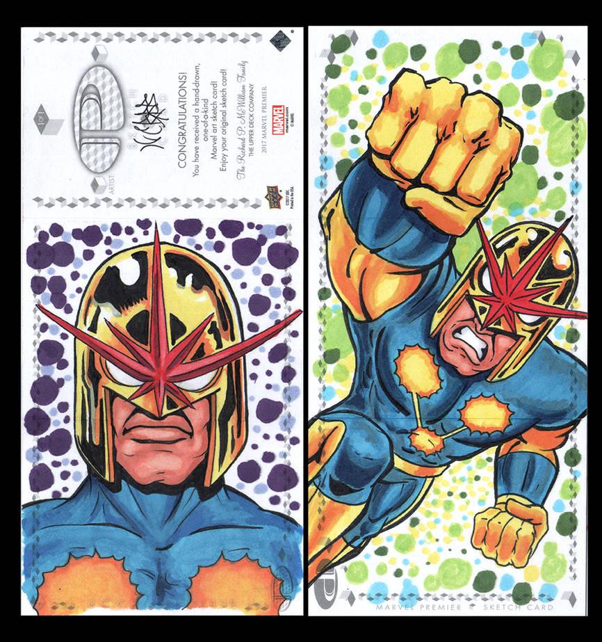 Nova Marvel Upper Deck three panel sketch card by ArtistikAssistance