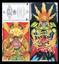 Elektro Marvel Upper Deck three panel sketch card