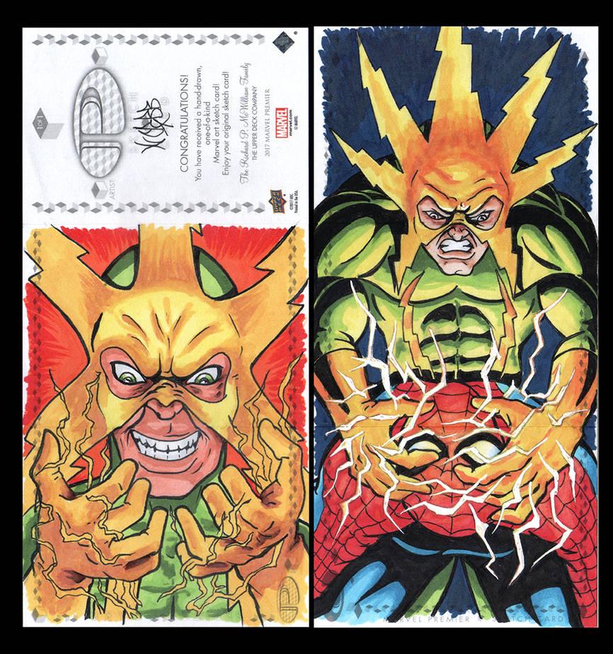 Elektro Marvel Upper Deck three panel sketch card by ArtistikAssistance