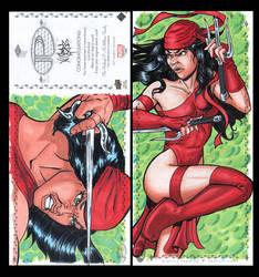 Elektra Marvel Upper Deck three panel sketch card