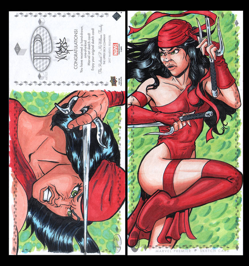 Elektra Marvel Upper Deck three panel sketch card by ArtistikAssistance