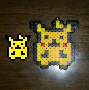 Pixelated pikachu head perler hama pikachu by