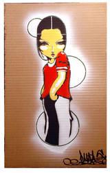 Girl Character Stencil Art