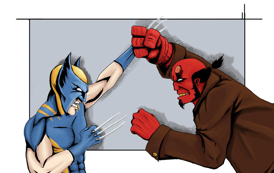 Wolverine VS Hellboy by MDriverArt