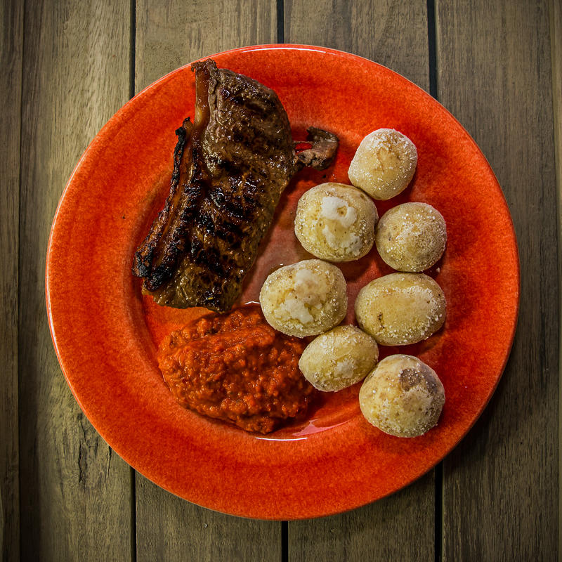 Sirloin Steak with papas arrugadas and ajvar by attomanen