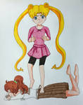 Request: Bunny on Makoto's back by darkskyluna