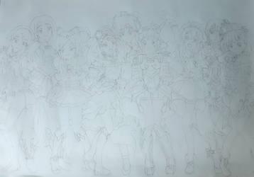 Yellow/Orange Magical Girls~ (Sketch) by darkskyluna