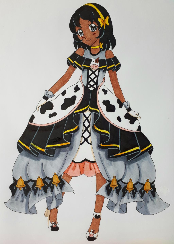 Girl wears a cow dress