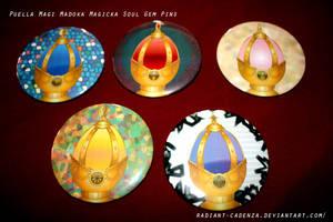 Madoka Magica Soul Gem Pins by Radiant-Cadenza