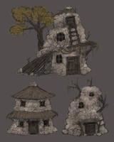 Shadow Huts - concept1 by Kiiro-chan