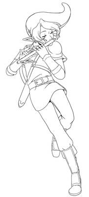 Play Us a Song on the Flute, Link! -Lineart-