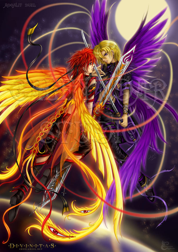 Moonlit Duel: Fire vs Soul by caleyndar