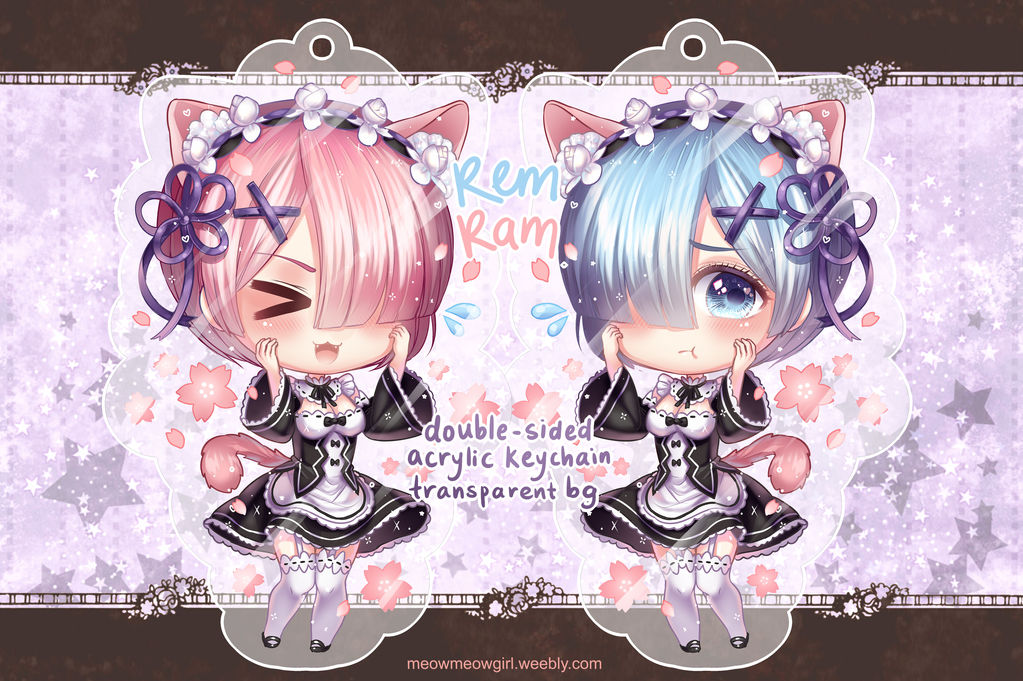 Re:zero Rem and Ram Keychain ( double sided ) by Meowmeowgirlx on