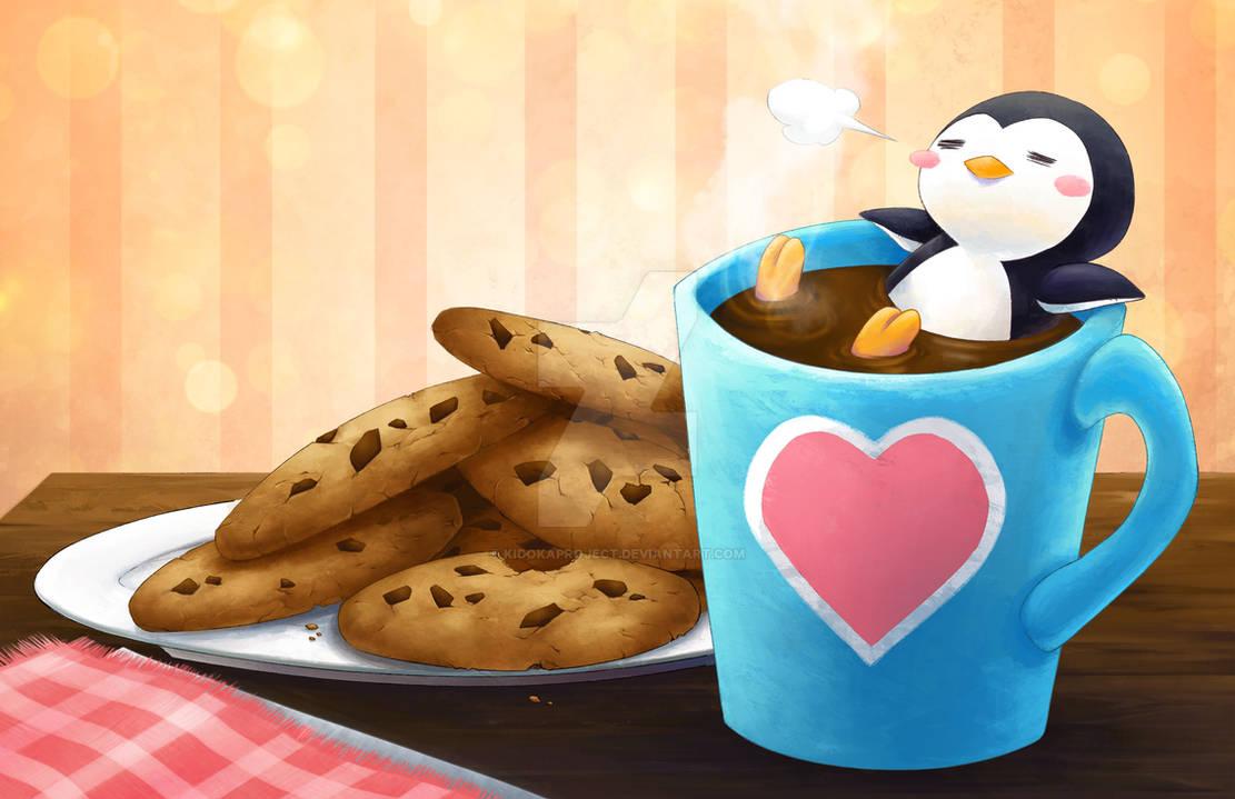 Coffee n' Cookies - Lazy Penguin