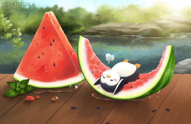 Summer Watermelon - Lazy Penguin