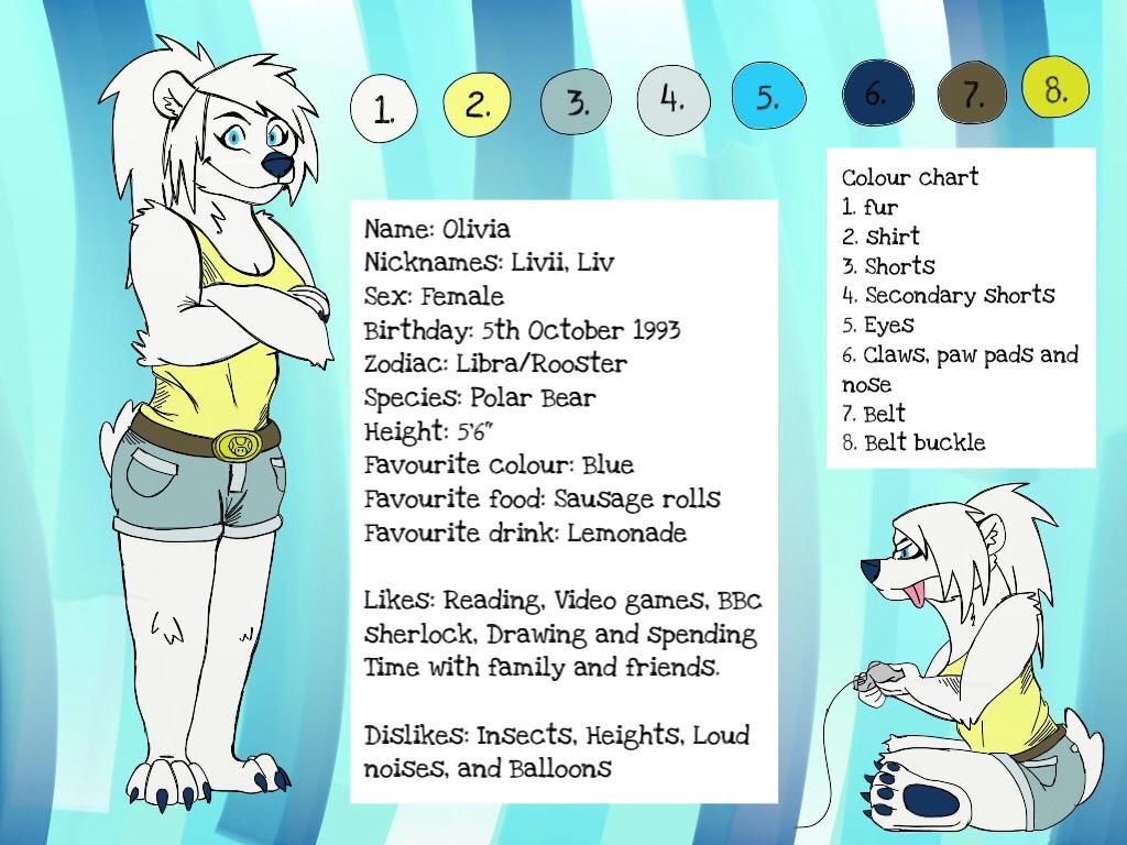 Fursona Reference Sheet 2014 by PolarBearLivii