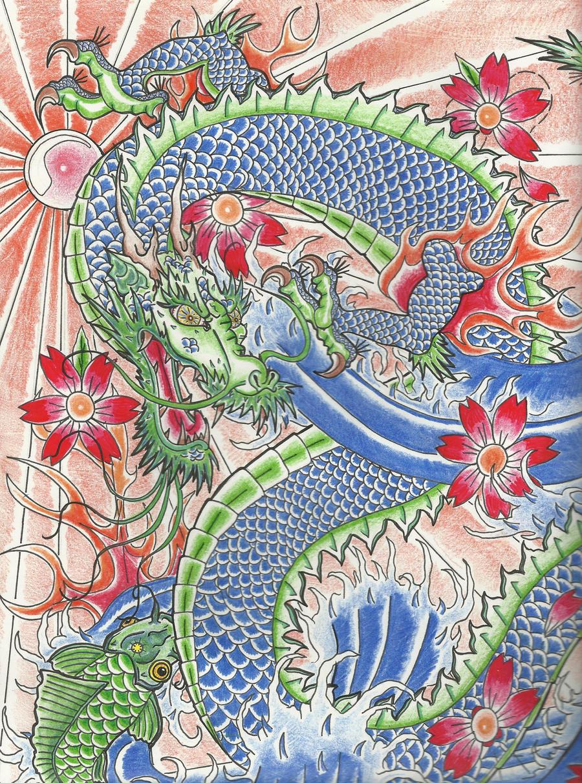 Blue chinese dragon art