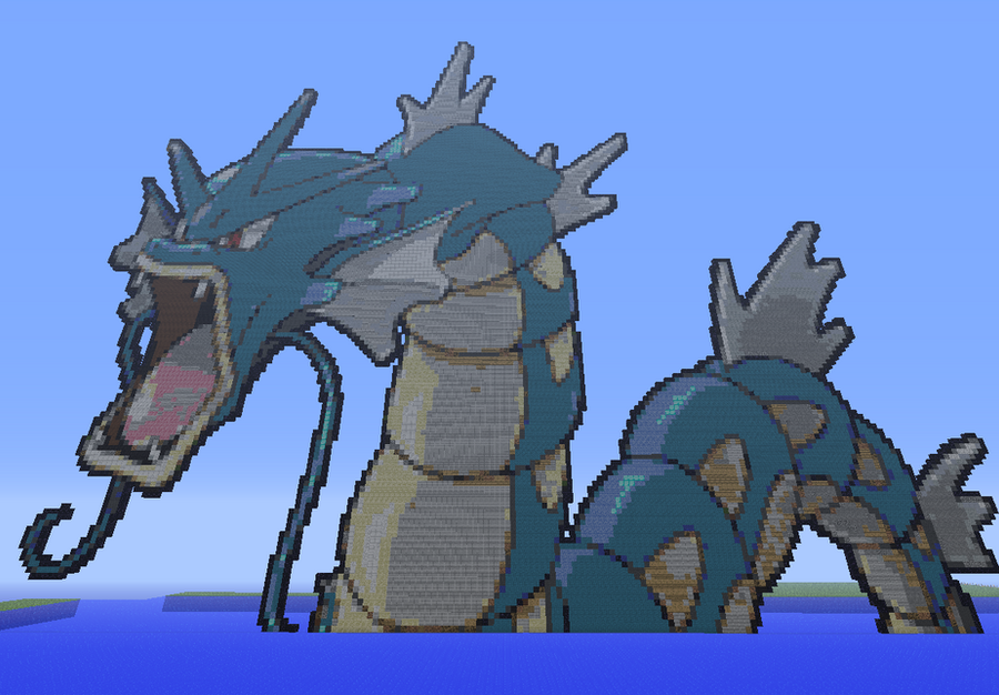 Gyarados in minecraft by Netheril-Danmaku