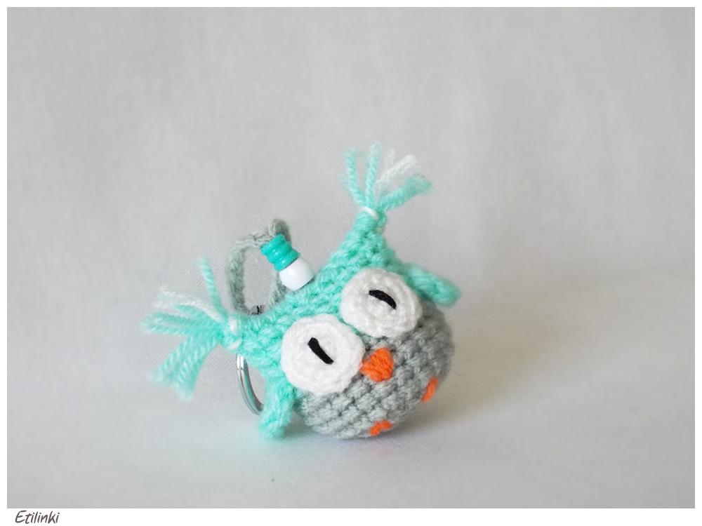 Amigurumi Owl Keychain : Mint Amigurumi Owl Keychain by Etilinki on DeviantArt