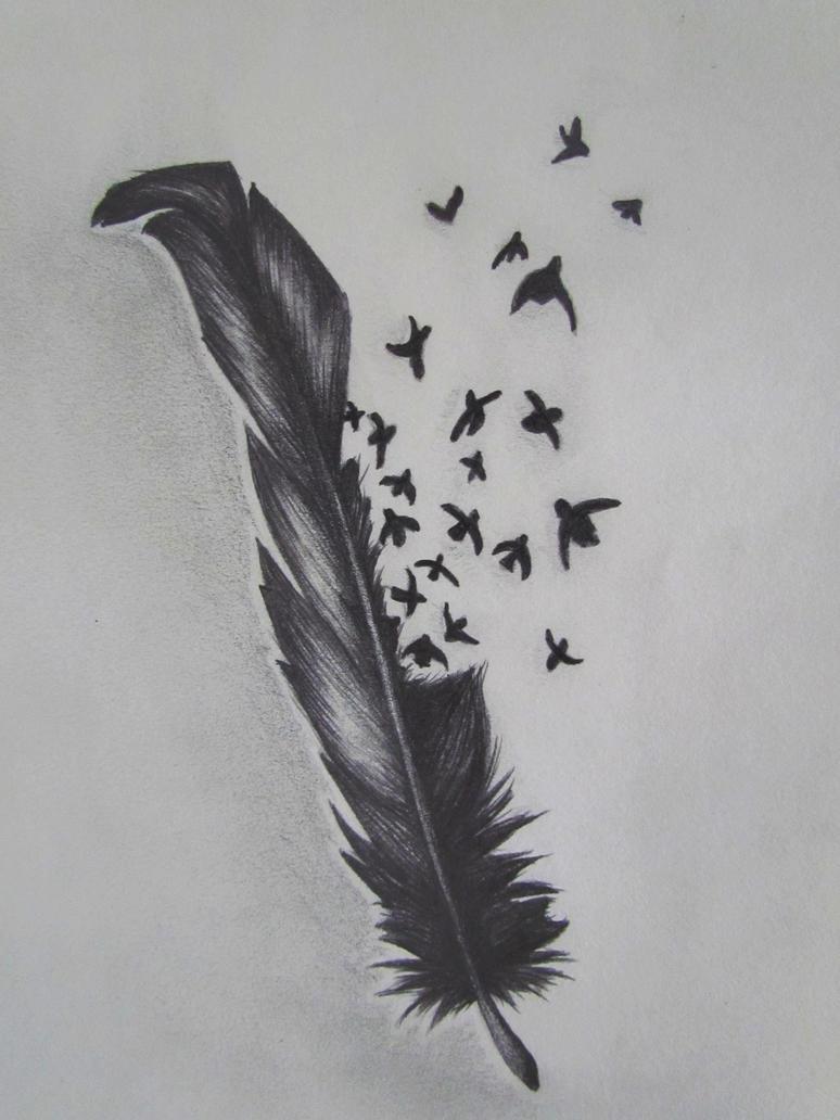 Best Tatto Design: Bird Crow Feather Tattoo Designs