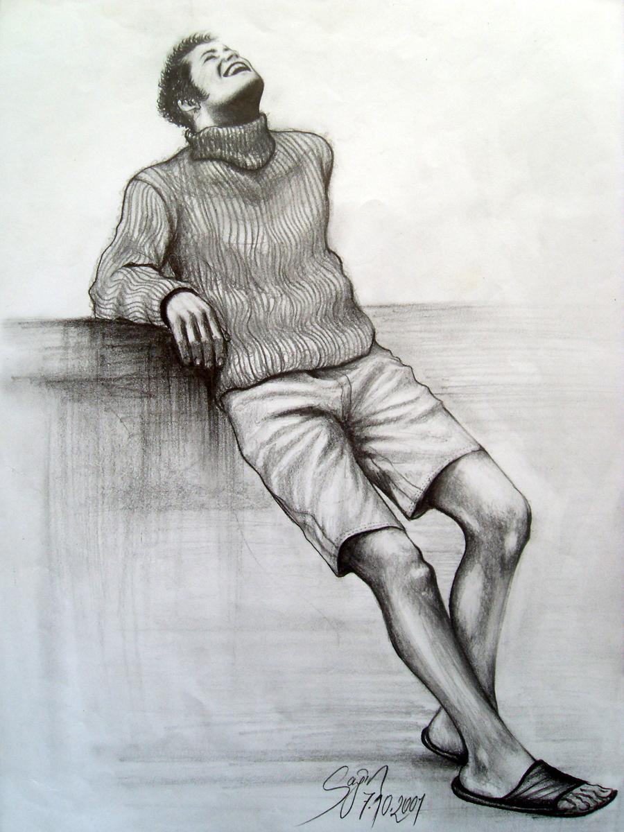 Smile man art pencil drawing 2001 by caginoz
