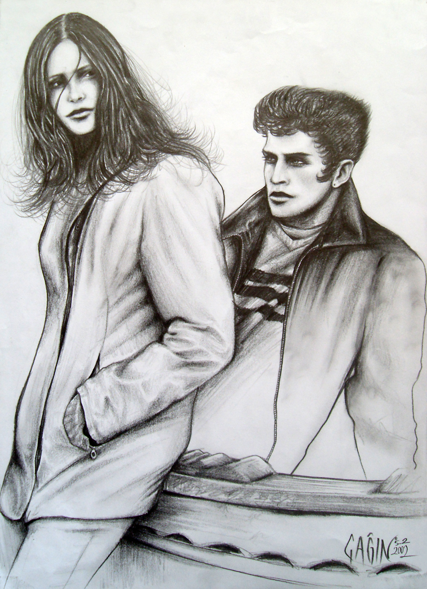 Woman and man sad lovers drawing 2002 by caginoz
