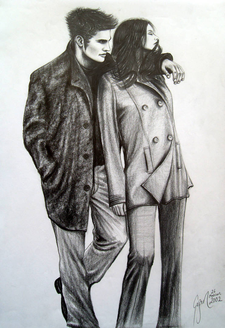Woman and man sad lovers drawing 2002 2 by caginoz