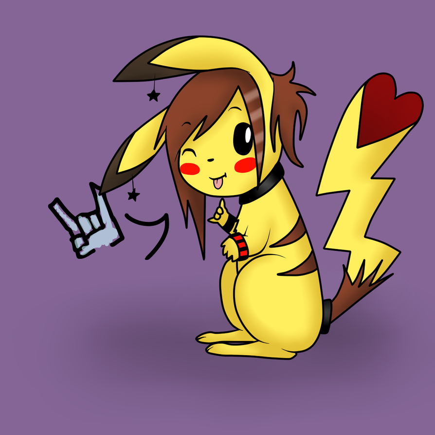 naked girl painted pikachu