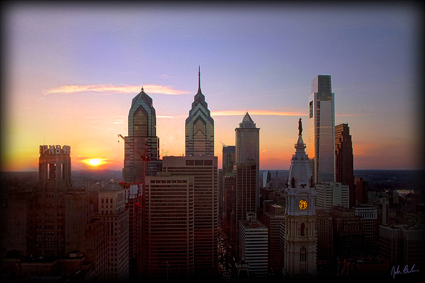Philly Skyline 2008 - Sunset by barefootphotography