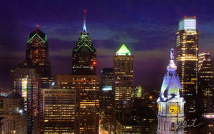 Philly Skyline 2008 - Night by barefootphotography