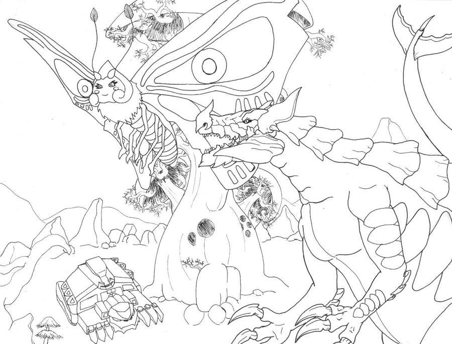 Not Godzilla Vs Mothra By EricMHE On DeviantArt