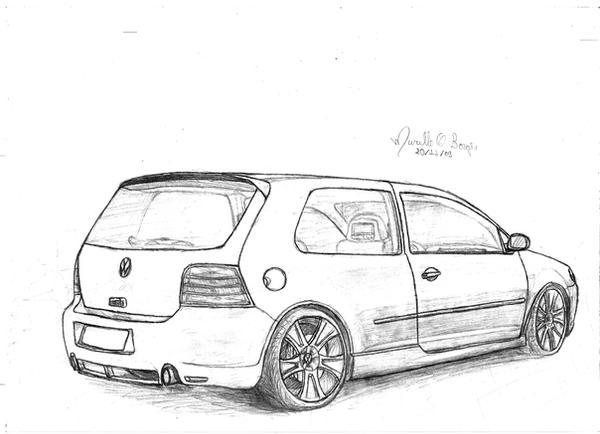 vw golf desenho by murillodesign on deviantart