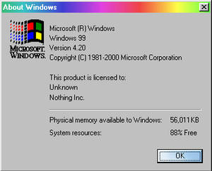 Windows 99 About Box