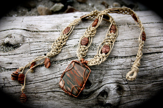 Wire wrapped picture jasper healing hemp necklace by spectralsun on wire wrapped picture jasper healing hemp necklace by spectralsun aloadofball Images